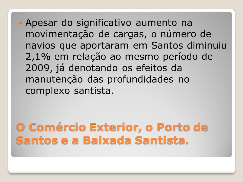 O Comércio Exterior, o Porto de Santos e a Baixada Santista.  Apesar do significativo aumento na movimentação de cargas, o número de navios que aport
