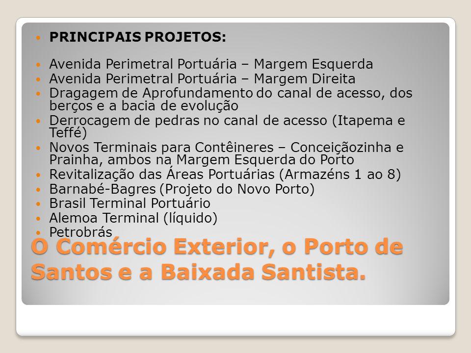 O Comércio Exterior, o Porto de Santos e a Baixada Santista.  PRINCIPAIS PROJETOS:  Avenida Perimetral Portuária – Margem Esquerda  Avenida Perimet