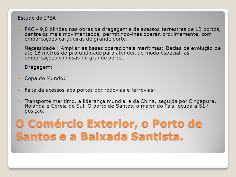 O Comércio Exterior, o Porto de Santos e a Baixada Santista. Estudo do IPEA  PAC - 9,8 bilhões nas obras de dragagem e de acessos terrestres de 12 po
