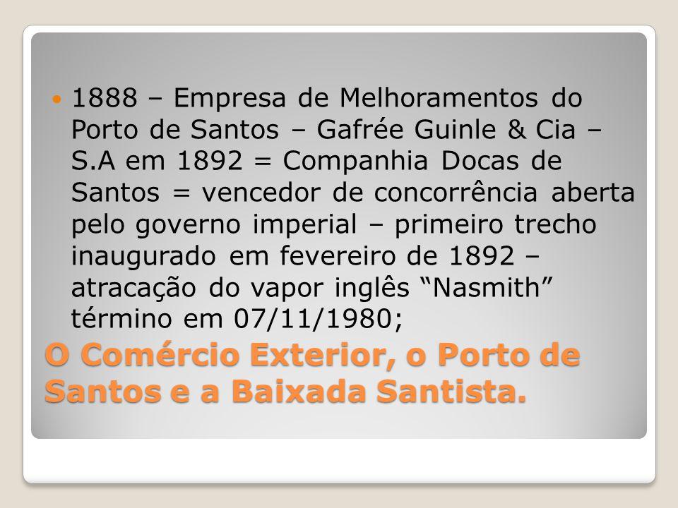 O Comércio Exterior, o Porto de Santos e a Baixada Santista.  1888 – Empresa de Melhoramentos do Porto de Santos – Gafrée Guinle & Cia – S.A em 1892