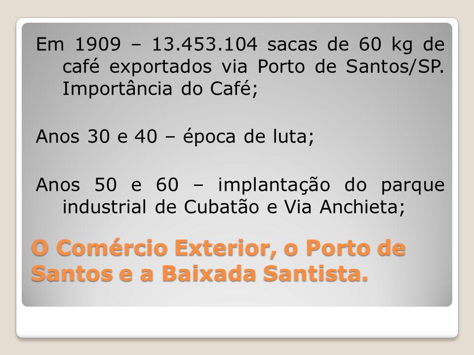 O Comércio Exterior, o Porto de Santos e a Baixada Santista. Em 1909 – 13.453.104 sacas de 60 kg de café exportados via Porto de Santos/SP. Importânci