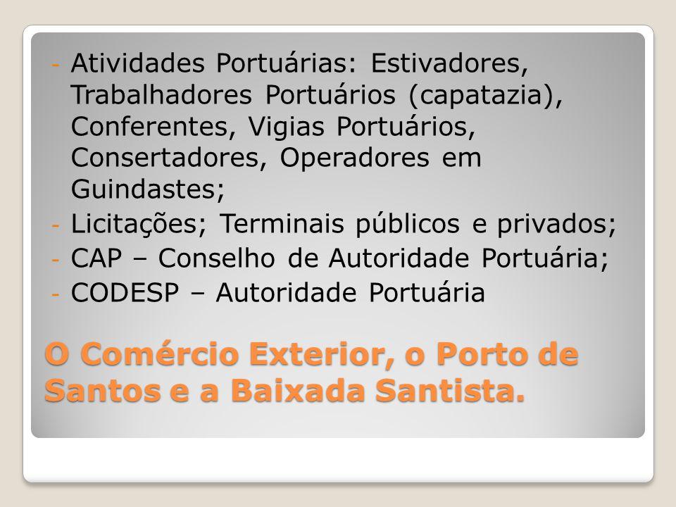 O Comércio Exterior, o Porto de Santos e a Baixada Santista. - Atividades Portuárias: Estivadores, Trabalhadores Portuários (capatazia), Conferentes,