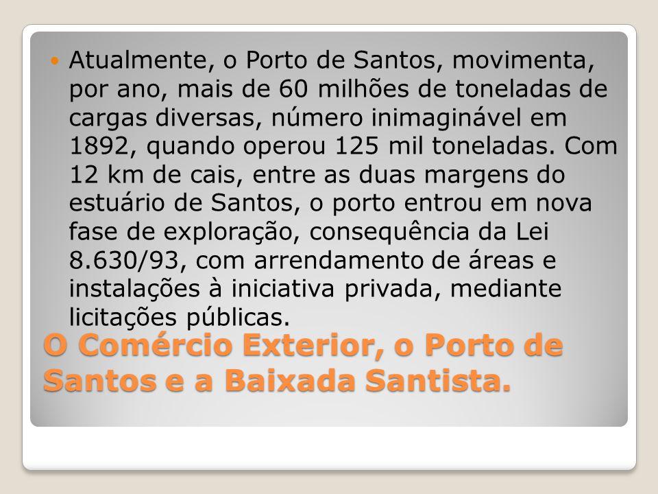 O Comércio Exterior, o Porto de Santos e a Baixada Santista.  Atualmente, o Porto de Santos, movimenta, por ano, mais de 60 milhões de toneladas de c