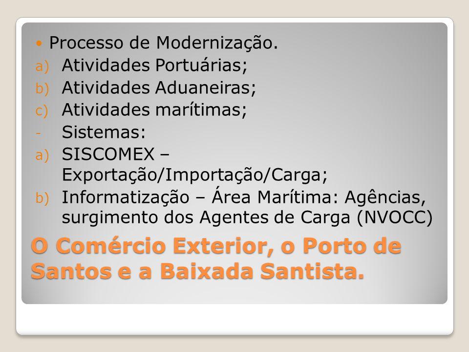 O Comércio Exterior, o Porto de Santos e a Baixada Santista.  Processo de Modernização. a) Atividades Portuárias; b) Atividades Aduaneiras; c) Ativid