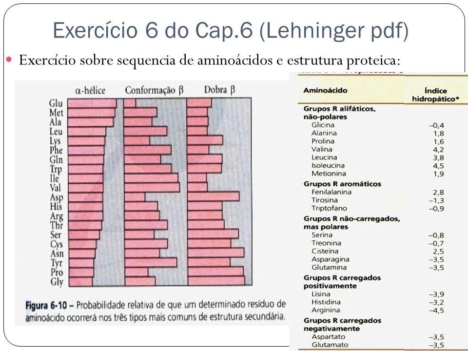 Exercício 6 do Cap.6 (Lehninger pdf)  Exercício sobre sequencia de aminoácidos e estrutura proteica: