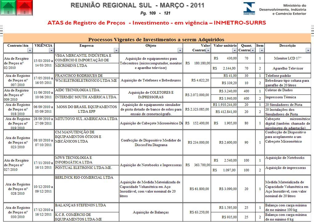 REUNIÃO REGIONAL SUL - MARÇO - 2011 Pg. 109 - 121