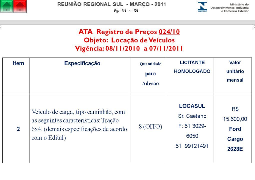 REUNIÃO REGIONAL SUL - MARÇO - 2011 Pg. 111 - 121