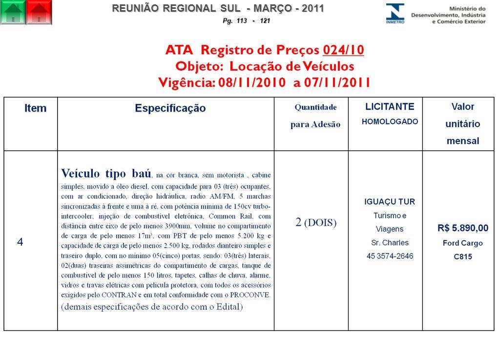 REUNIÃO REGIONAL SUL - MARÇO - 2011 Pg. 113 - 121