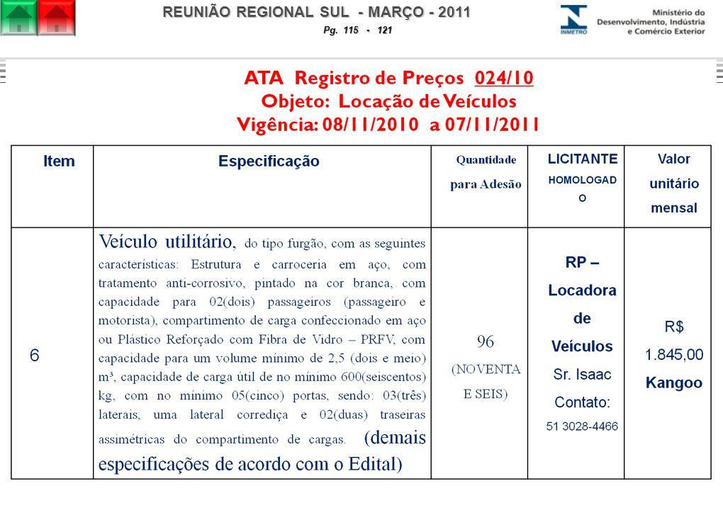 REUNIÃO REGIONAL SUL - MARÇO - 2011 Pg. 115 - 121