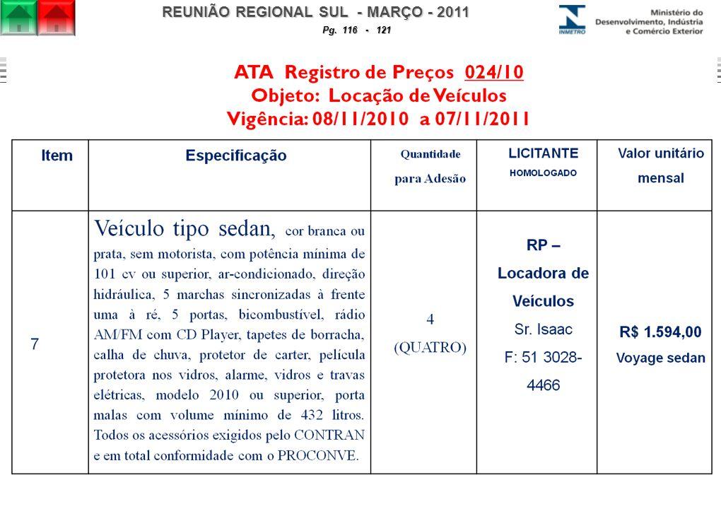 REUNIÃO REGIONAL SUL - MARÇO - 2011 Pg. 116 - 121