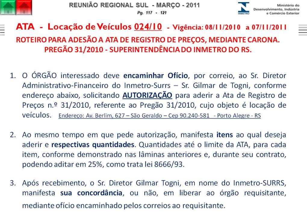 REUNIÃO REGIONAL SUL - MARÇO - 2011 Pg. 117 - 121