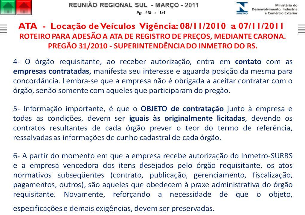 REUNIÃO REGIONAL SUL - MARÇO - 2011 Pg. 118 - 121