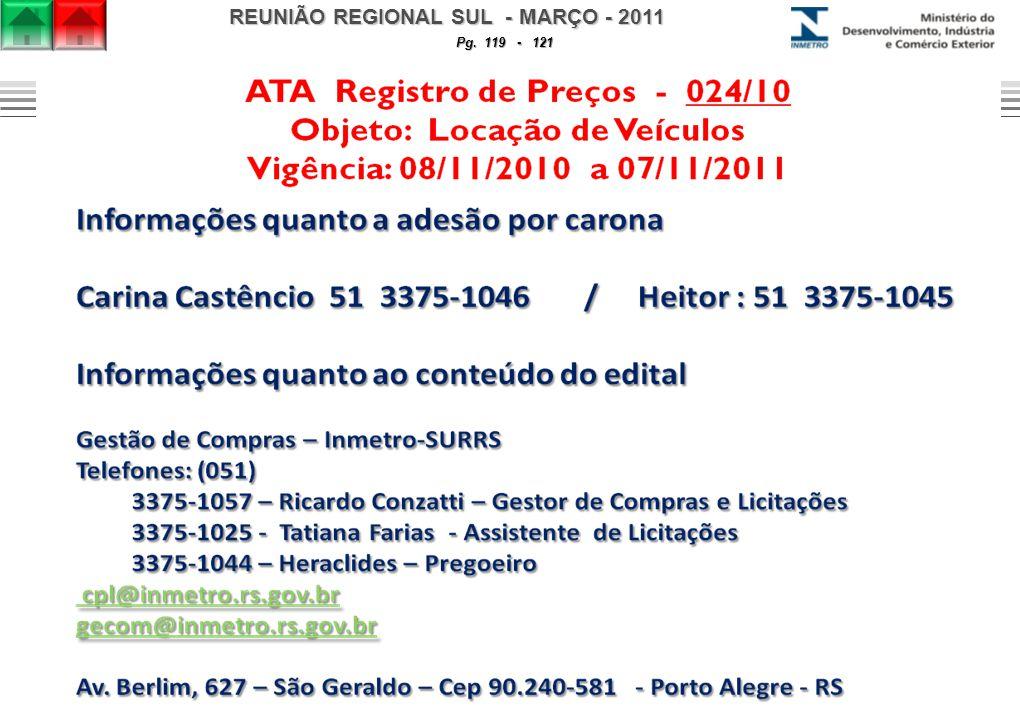 REUNIÃO REGIONAL SUL - MARÇO - 2011 Pg. 119 - 121