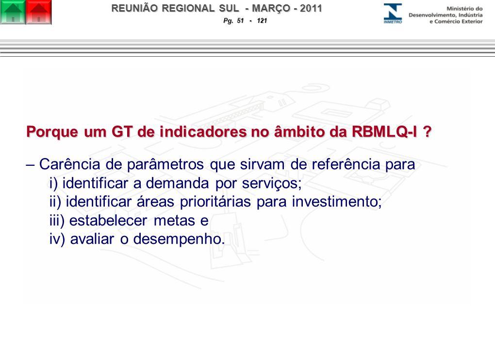 REUNIÃO REGIONAL SUL - MARÇO - 2011 Pg. 51 - 121 Porque um GT de indicadores no âmbito da RBMLQ-I .