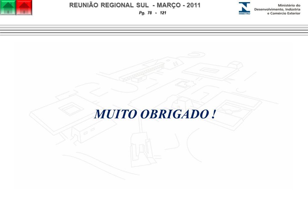 REUNIÃO REGIONAL SUL - MARÇO - 2011 Pg. 78 - 121 MUITO OBRIGADO !