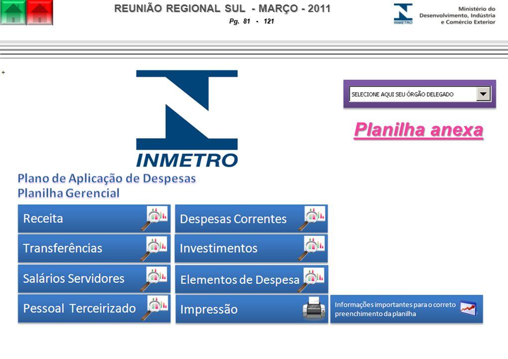 REUNIÃO REGIONAL SUL - MARÇO - 2011 Pg. 81 - 121 Planilha anexa Planilha anexa