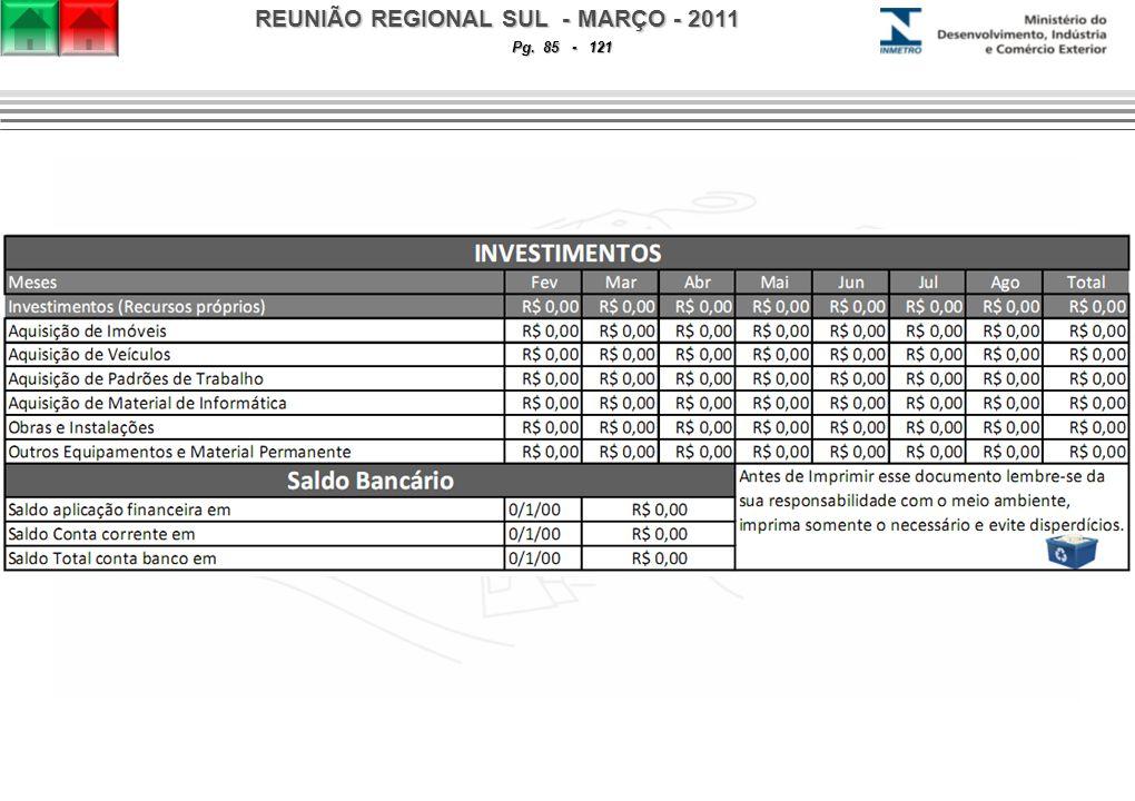 REUNIÃO REGIONAL SUL - MARÇO - 2011 Pg. 85 - 121