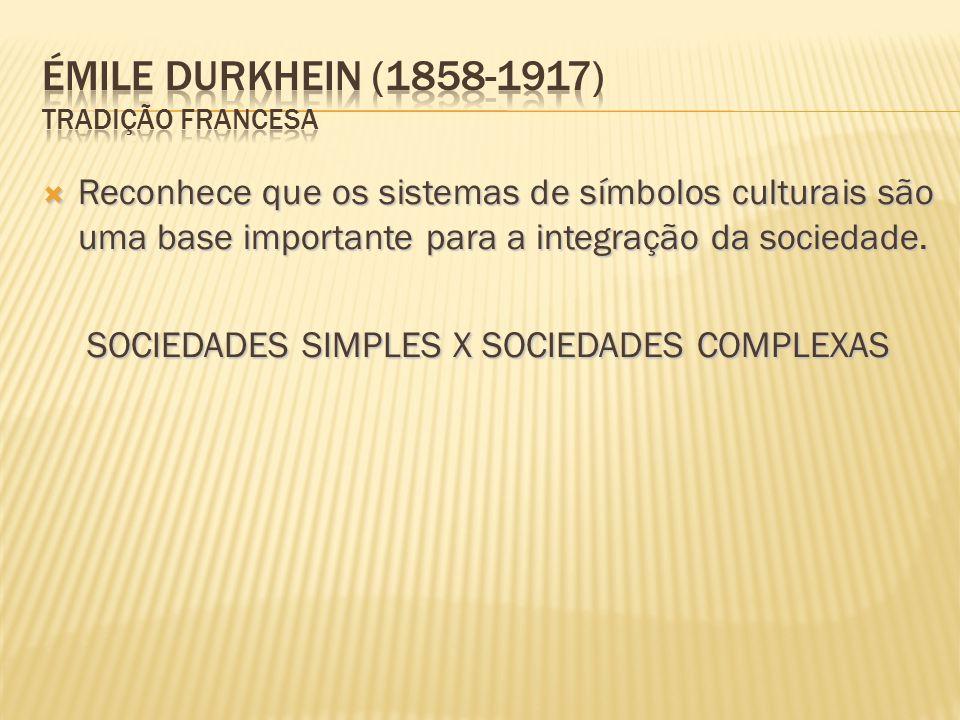  Reconhece que os sistemas de símbolos culturais são uma base importante para a integração da sociedade. SOCIEDADES SIMPLES X SOCIEDADES COMPLEXAS