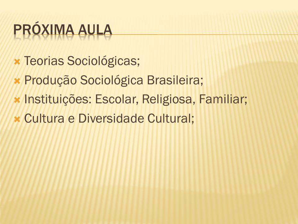  Teorias Sociológicas;  Produção Sociológica Brasileira;  Instituições: Escolar, Religiosa, Familiar;  Cultura e Diversidade Cultural;