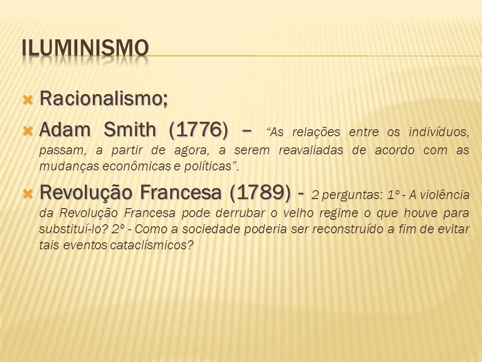""" Racionalismo;  Adam Smith (1776)–  Adam Smith (1776) – """"As relações entre os indivíduos, passam, a partir de agora, a serem reavaliadas de acordo"""