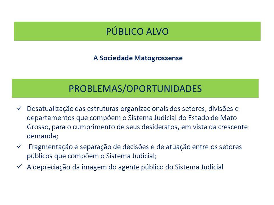 PROBLEMAS/OPORTUNIDADES  Desatualização das estruturas organizacionais dos setores, divisões e departamentos que compõem o Sistema Judicial do Estado de Mato Grosso, para o cumprimento de seus desideratos, em vista da crescente demanda;  Fragmentação e separação de decisões e de atuação entre os setores públicos que compõem o Sistema Judicial;  A depreciação da imagem do agente público do Sistema Judicial PÚBLICO ALVO A Sociedade Matogrossense