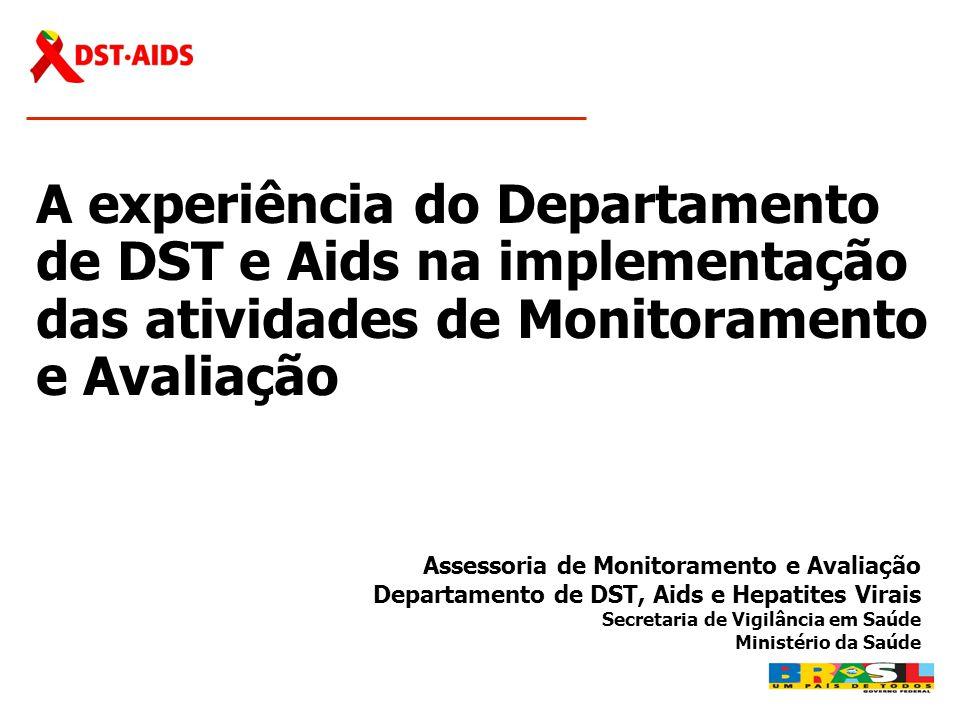 A experiência do Departamento de DST e Aids na implementação das atividades de Monitoramento e Avaliação Assessoria de Monitoramento e Avaliação Depar