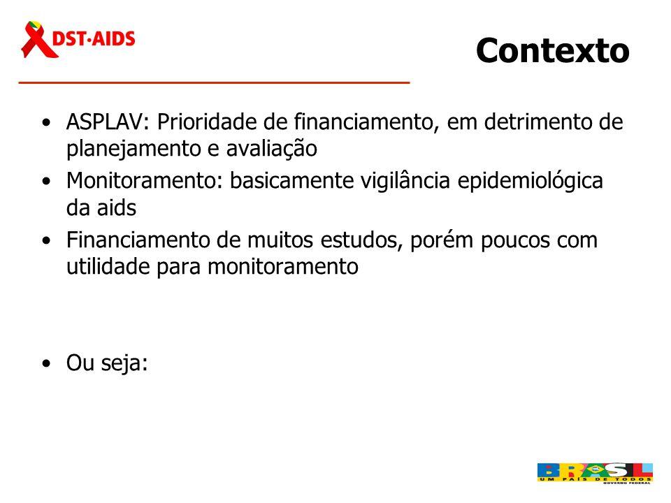 Contexto •ASPLAV: Prioridade de financiamento, em detrimento de planejamento e avaliação •Monitoramento: basicamente vigilância epidemiológica da aids