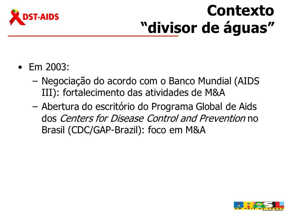 """Contexto """"divisor de águas"""" •Em 2003: –Negociação do acordo com o Banco Mundial (AIDS III): fortalecimento das atividades de M&A –Abertura do escritór"""