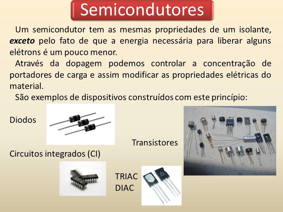 Semicondutores Um semicondutor tem as mesmas propriedades de um isolante, exceto pelo fato de que a energia necessária para liberar alguns elétrons é um pouco menor.