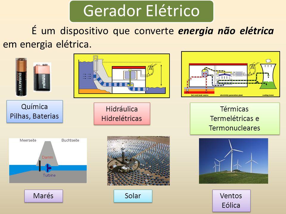 Gerador Elétrico É um dispositivo que converte energia não elétrica em energia elétrica.