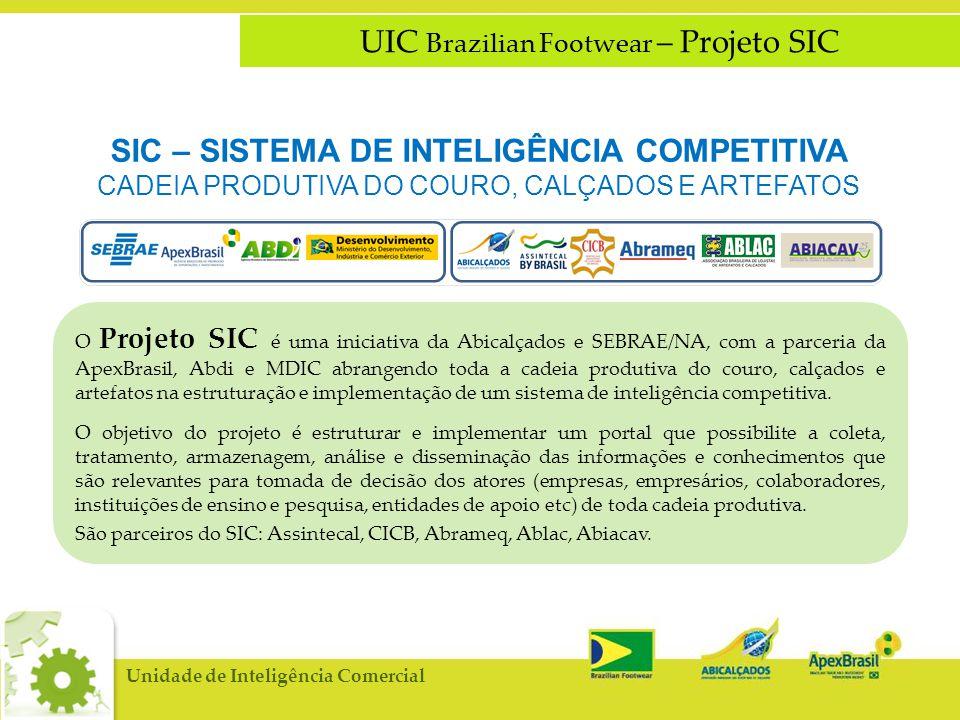 O Projeto SIC é uma iniciativa da Abicalçados e SEBRAE/NA, com a parceria da ApexBrasil, Abdi e MDIC abrangendo toda a cadeia produtiva do couro, calçados e artefatos na estruturação e implementação de um sistema de inteligência competitiva.