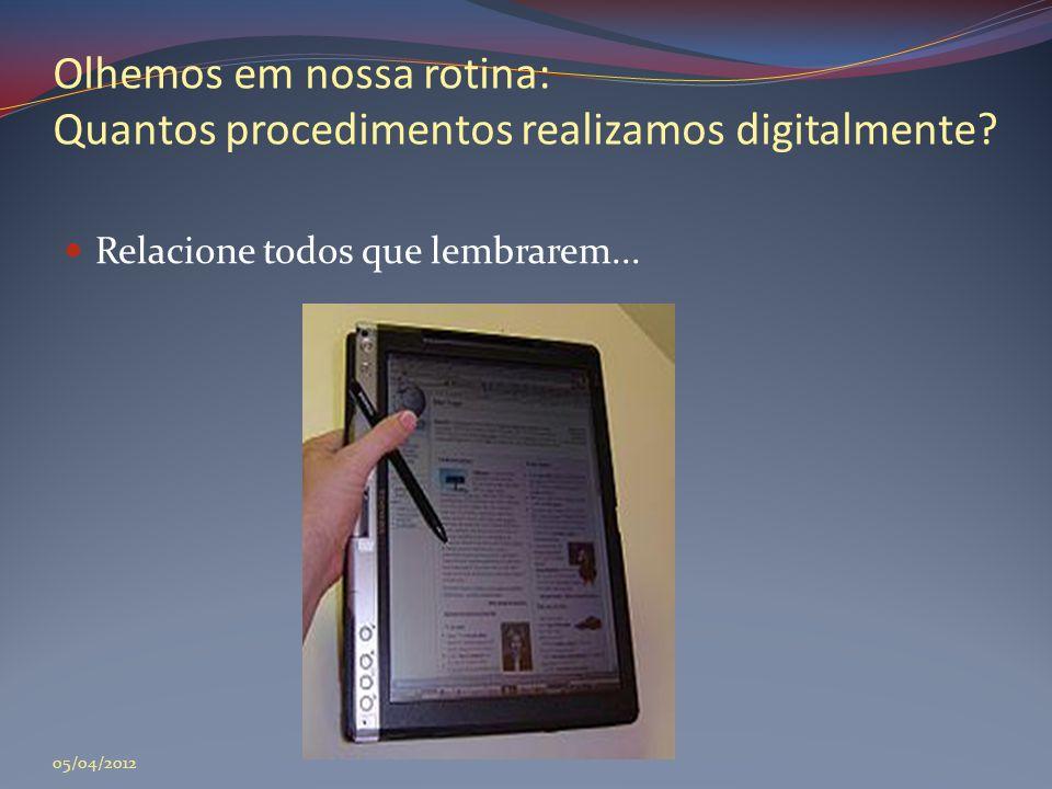 Olhemos em nossa rotina: Quantos procedimentos realizamos digitalmente?  Relacione todos que lembrarem... 05/04/2012