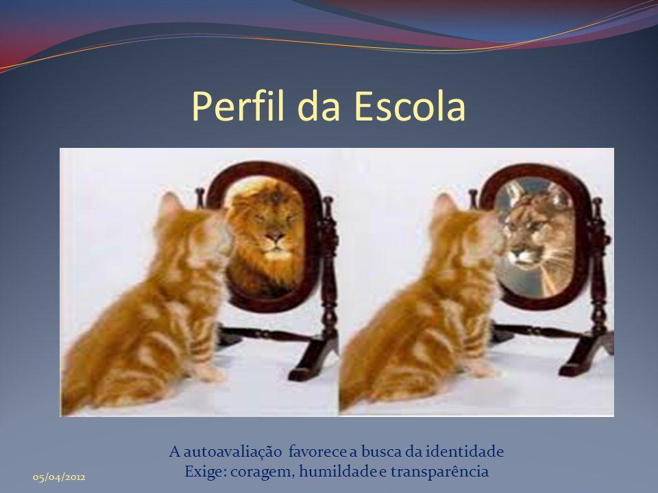 Perfil da Escola A autoavaliação favorece a busca da identidade Exige: coragem, humildade e transparência 05/04/2012