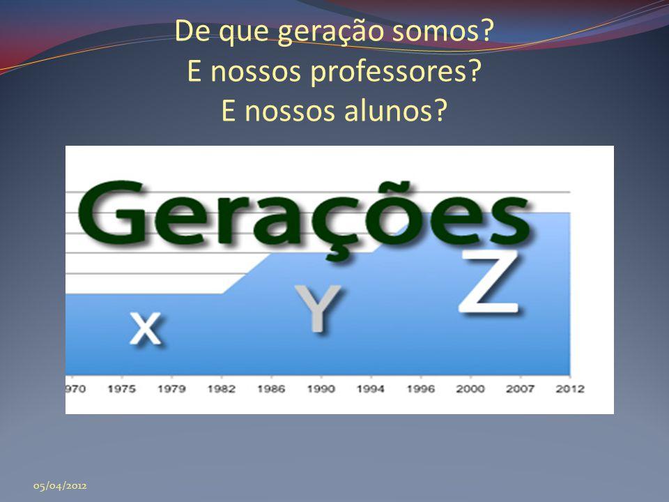 De que geração somos? E nossos professores? E nossos alunos? 05/04/2012
