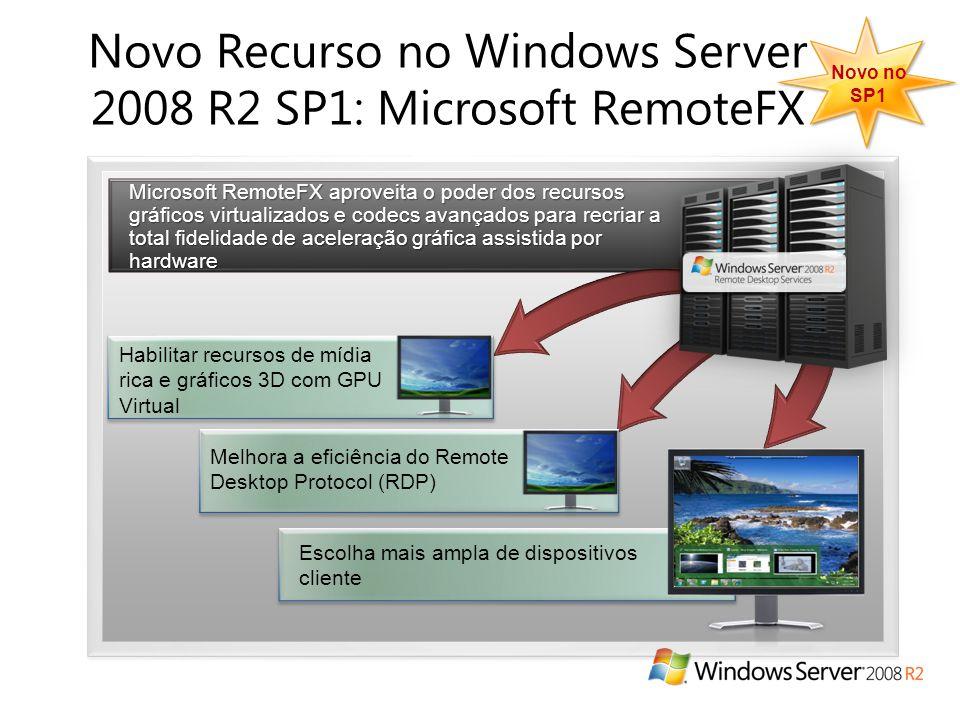 Novo Recurso no Windows Server 2008 R2 SP1: Microsoft RemoteFX Microsoft RemoteFX aproveita o poder dos recursos gráficos virtualizados e codecs avançados para recriar a total fidelidade de aceleração gráfica assistida por hardware Habilitar recursos de mídia rica e gráficos 3D com GPU Virtual Escolha mais ampla de dispositivos cliente Melhora a eficiência do Remote Desktop Protocol (RDP) Novo no SP1