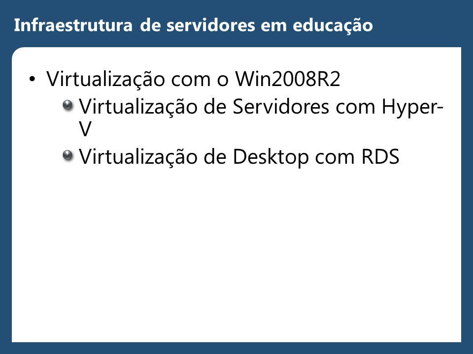 Infraestrutura de servidores em educação • Virtualização com o Win2008R2 Virtualização de Servidores com Hyper- V Virtualização de Desktop com RDS