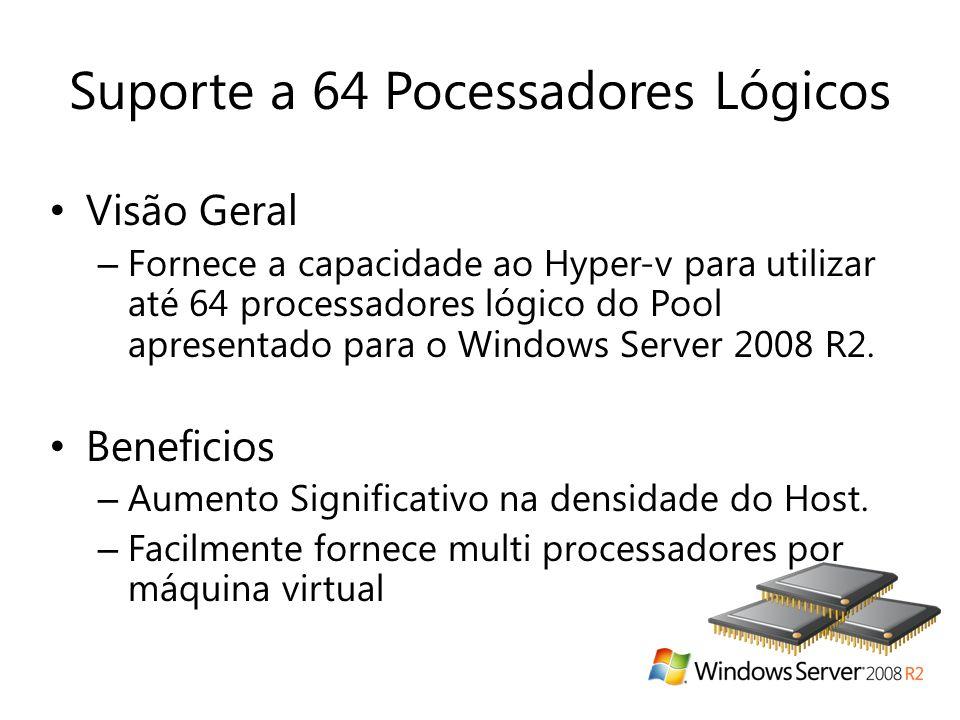 Suporte a 64 Pocessadores Lógicos • Visão Geral – Fornece a capacidade ao Hyper-v para utilizar até 64 processadores lógico do Pool apresentado para o Windows Server 2008 R2.