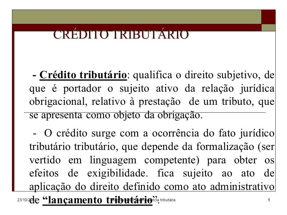 23/10/2002Regra-matriz de incidência tributária1 CRÉDITO TRIBUTÁRIO - Crédito tributário: qualifica o direito subjetivo, de que é portador o sujeito a