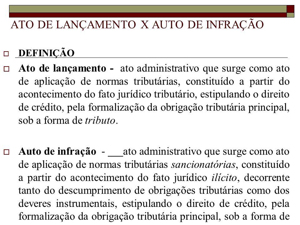 ATO DE LANÇAMENTO X AUTO DE INFRAÇÃO  DEFINIÇÃO  Ato de lançamento - ato administrativo que surge como ato de aplicação de normas tributárias, const