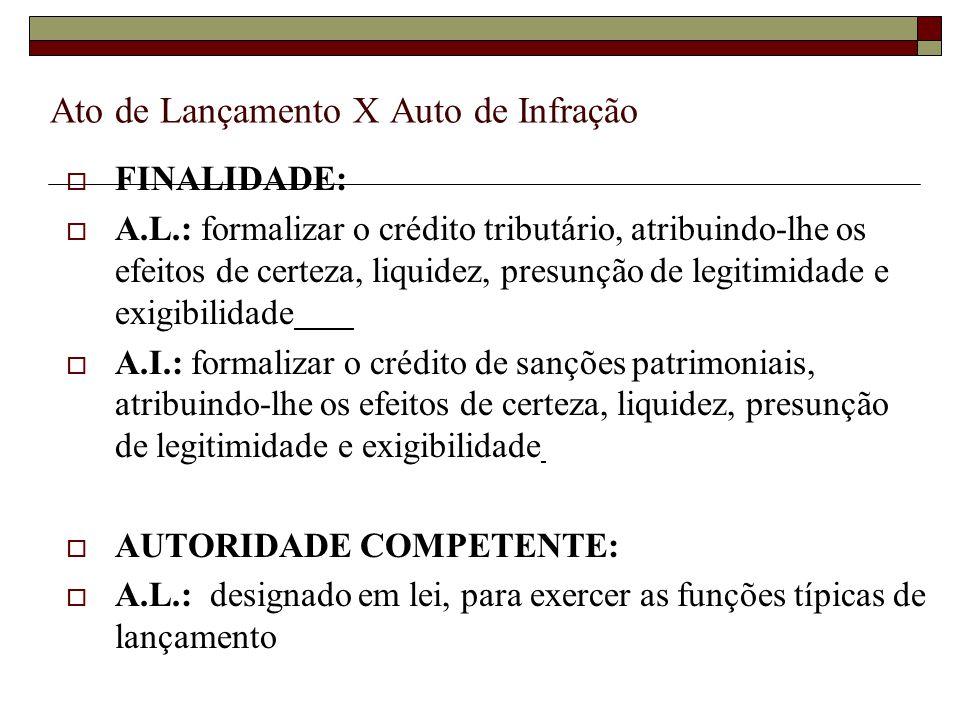 Ato de Lançamento X Auto de Infração  FINALIDADE:  A.L.: formalizar o crédito tributário, atribuindo-lhe os efeitos de certeza, liquidez, presunção de legitimidade e exigibilidade  A.I.: formalizar o crédito de sanções patrimoniais, atribuindo-lhe os efeitos de certeza, liquidez, presunção de legitimidade e exigibilidade  AUTORIDADE COMPETENTE:  A.L.: designado em lei, para exercer as funções típicas de lançamento  A.I.: como designado em lei, para exercer as funções típicas de lançamento ou fiscalização