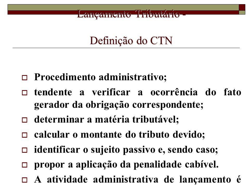 Lançamento Tributário - Definição do CTN  Procedimento administrativo;  tendente a verificar a ocorrência do fato gerador da obrigação correspondent