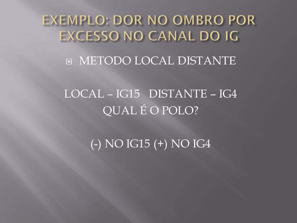  METODO LOCAL DISTANTE LOCAL – IG15 DISTANTE – IG4 QUAL É O POLO? (-) NO IG15 (+) NO IG4
