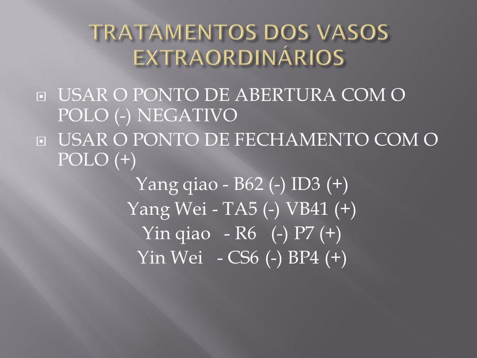  USAR O PONTO DE ABERTURA COM O POLO (-) NEGATIVO  USAR O PONTO DE FECHAMENTO COM O POLO (+) Yang qiao - B62 (-) ID3 (+) Yang Wei - TA5 (-) VB41 (+) Yin qiao - R6 (-) P7 (+) Yin Wei - CS6 (-) BP4 (+)