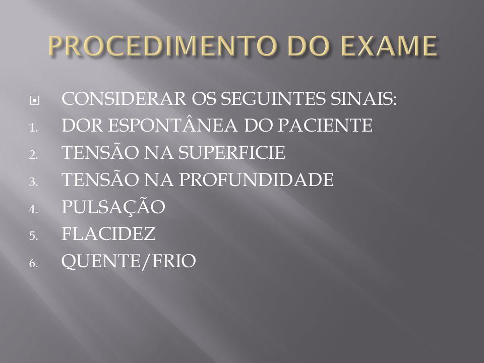  CONSIDERAR OS SEGUINTES SINAIS: 1.DOR ESPONTÂNEA DO PACIENTE 2.