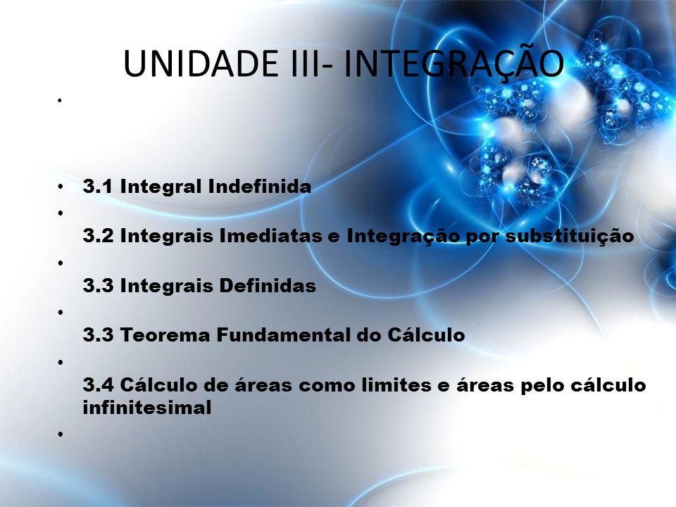 • 3.1 Integral Indefinida • 3.2 Integrais Imediatas e Integração por substituição • 3.3 Integrais Definidas • 3.3 Teorema Fundamental do Cálculo • 3.4