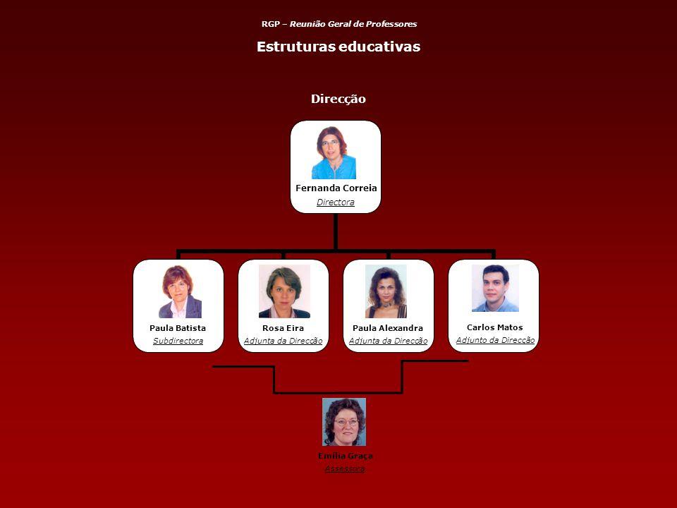 Direcção Carlos Matos Adjunto da Direcção Emília Graça Assessora Estruturas educativas RGP – Reunião Geral de Professores