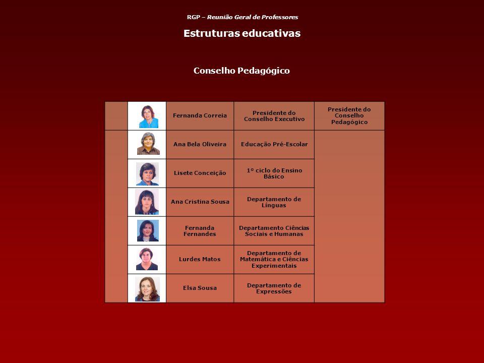 Conselho Pedagógico Fernanda Correia Presidente do Conselho Executivo Presidente do Conselho Pedagógico Ana Bela OliveiraEducação Pré-Escolar Lisete C