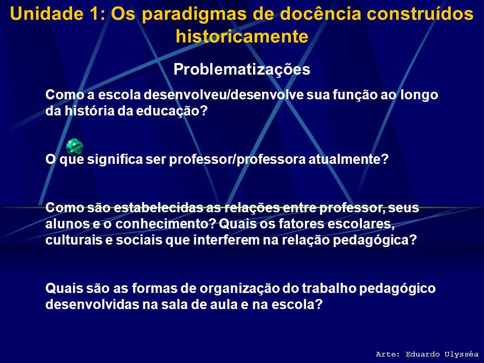 Unidade 1: Os paradigmas de docência construídos historicamente Arte: Eduardo Ulysséa Problematizações Como a escola desenvolveu/desenvolve sua função