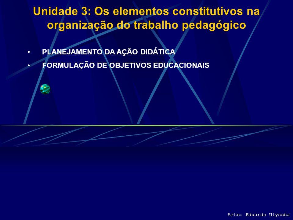 Unidade 3: Os elementos constitutivos na organização do trabalho pedagógico Arte: Eduardo Ulysséa •PLANEJAMENTO DA AÇÃO DIDÁTICA