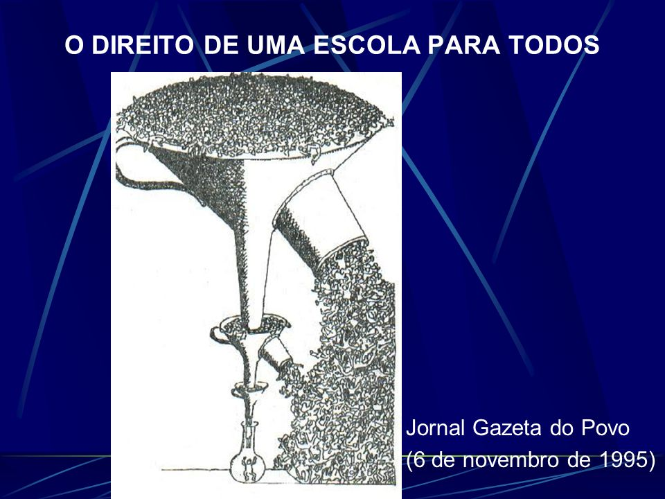 O DIREITO DE UMA ESCOLA PARA TODOS Jornal Gazeta do Povo (6 de novembro de 1995)